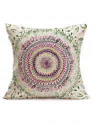 Watercolor Ethnic Floral Print Linen Throw Pillowcase