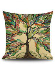 Hand Painted Leaf Tree Print Linen Square Throw Pillowcase - GREEN