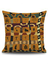 Indian Print Square Linen Throw Pillowcase