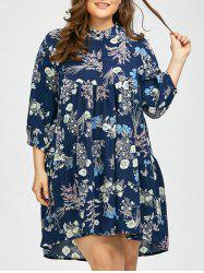 Plus Size Tiny Floral Chiffon Linen Shirt Dress