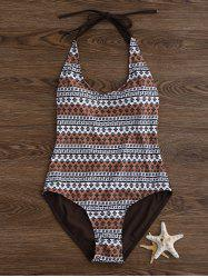 Halter Printed Backless One Piece Swimwear