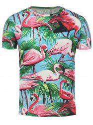 3D Flamingo Floral Print Hawaiian T-Shirt - COLORMIX