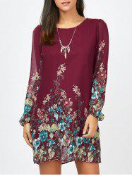 Floral Long Sleeve Chiffon Short Casual Dress - WINE RED