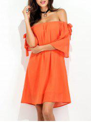 Off The Shoulder Bowknot Short Chiffon Dress
