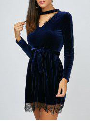Keyhole Lace Insert Velvet Mini Dress