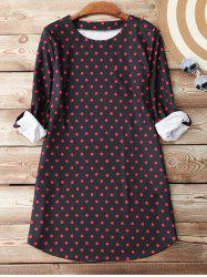 Polka Dot Shift Dress With Pocket