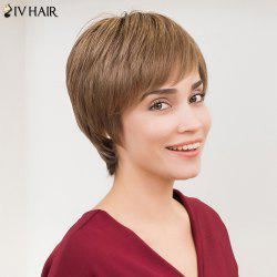 Siv Hair Short Silky Straight Side Bang Layered Human Hair Wig