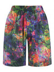 3D Colorful Floral Print Trippy Board Shorts