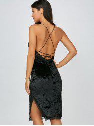 Criss Cross Velvet Open Back Club Slip Dress