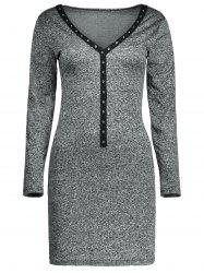 Plunging Neck Long Sleeve Heather Fitted Dress