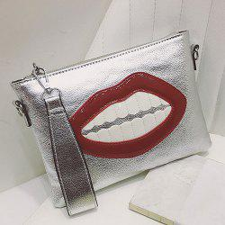 Mouth Patch Wristlet Clutch Bag