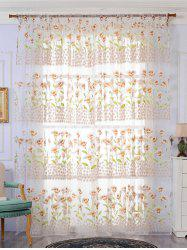 Calla Lily Embroidery Sheer Window Tulle For Bedroom -