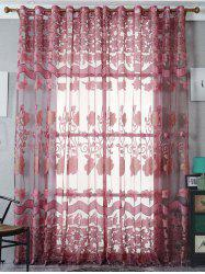 Jacquard Screen Door Window Tulle Rideau Sheer - Rouge Foncé Largeur39 pouces *Longeur79 pouces