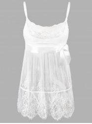 Lace Plus Size Slip Badydoll Dress - WHITE