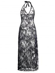 Plus Size Halter Neck Lace Maxi Backless Sheer Dress - BLACK