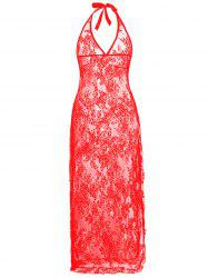 Halter Lace Plus Size Dress - Rouge