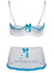 Underwire Plus Size Demi Lace Bra and Panty Set - WHITE