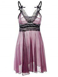 Lace Trim See Through Plus Size Babydoll - PURPLE