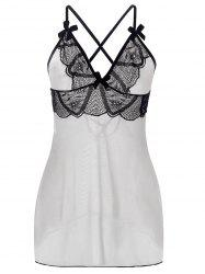 Lace Up See Through plus Babydoll Taille - Blanc