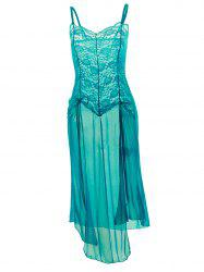 Plus Size Maxi Lace Top Sheer Slip Dress - GREEN