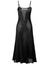 Sheer Plus Size Slip Bandage Long Party Dress - BLACK