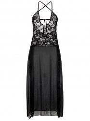 See Through High Slit Plus Size Dress - BLACK