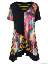 Plus Size Striped Tie Dye Top