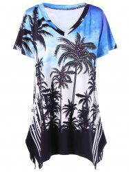 Plus Size Palm Asymmetrical T-Shirt