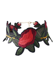 Flower Leaf Embroidered Choker Necklace - RED