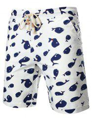 Cartoon Whale Print Drawstring Linen Shorts