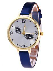 YBOTTI Faux Leather Quartz Watch with Pretty Eyes