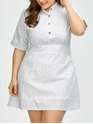 Plus Size Half Button Pinstripe Shirt Dress