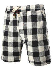 Drawstring Elastic Waist Plaid Linen Shorts - BLACK