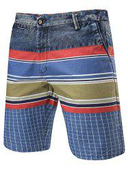Zip Fly Color Block Denim Panel Shorts
