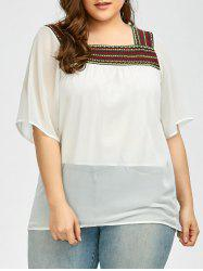 Plus Size Dolman Sleeve Embroidered Peasant Top