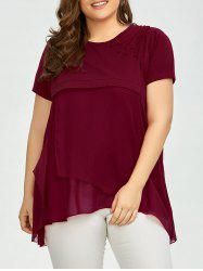 Plus Size Embroidered Layered Chiffon Asymmetric Blouse