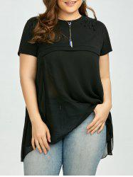 Plus Size Embroidered Layered Chiffon Asymmetric Blouse - BLACK 2XL