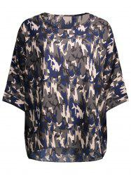 Plus Size Dolman Sleeve Chiffon Camo Top