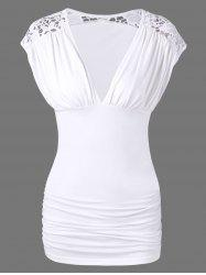 Lace Trim Low Cut Ruched Blouse - WHITE XL