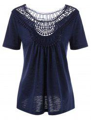 Lace Insert Hollow Out Tee