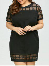 Plus Size Voile Panel Shift Mini Dress
