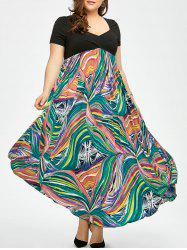 Plus Size Colored Print Empire Waist Maxi Bohemian Dress