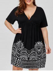 Low Cut Empire Waist Plus Size A Line Dress - WHITE AND BLACK