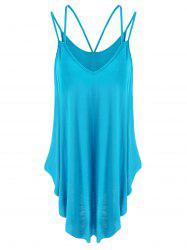 Spaghetti Strap Handkerchief Tank Top - LAKE BLUE