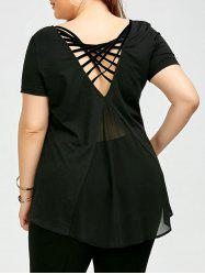 Plus Size Chiffon Panel Cage T-Shirt