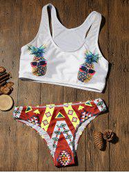 Crop Top Bikini with Pineapple Print