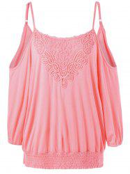 Plus Size Lace Panel Cold Shoulder Blouson Top