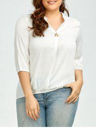 Plus Size V Neck High Low Chiffon Blouse