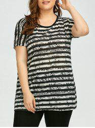 Plus Size Colored Stripe Long Tee