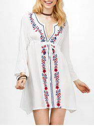 Empire Waist Floral Embroidered Mini Dress - WHITE